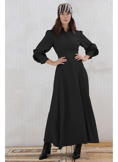 Vivencia Gizli Pat Düğmeli Gömlek Yaka Kadın Elbise Tarçın Siyah